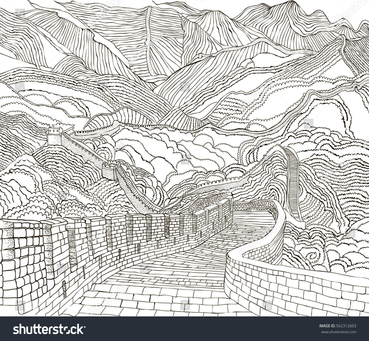 coloring pages the great wall of china - Great Wall China Coloring Page