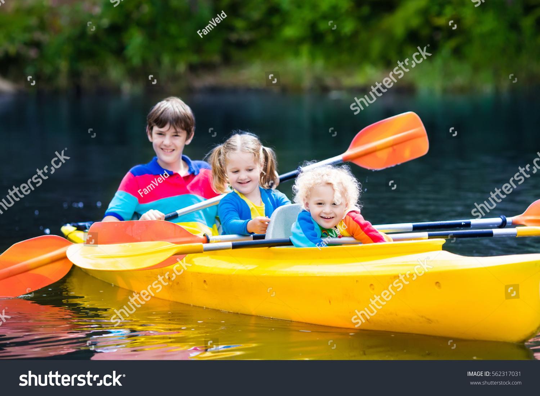 happy family three kids enjoying kayak stock photo edit now