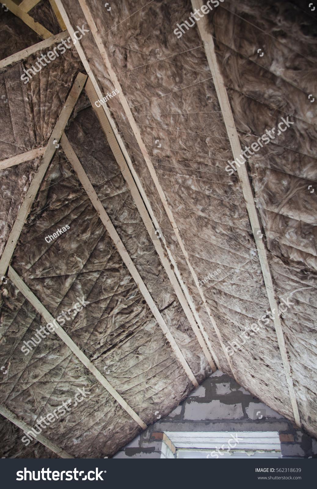 Thermal insulation glass wool attic stockfoto 562318639 shutterstock - Attic thermal insulation ...