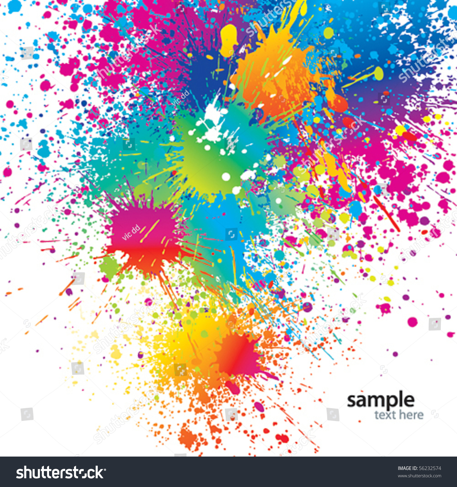 Background Colorful Spots Sprays On White Stock Vector