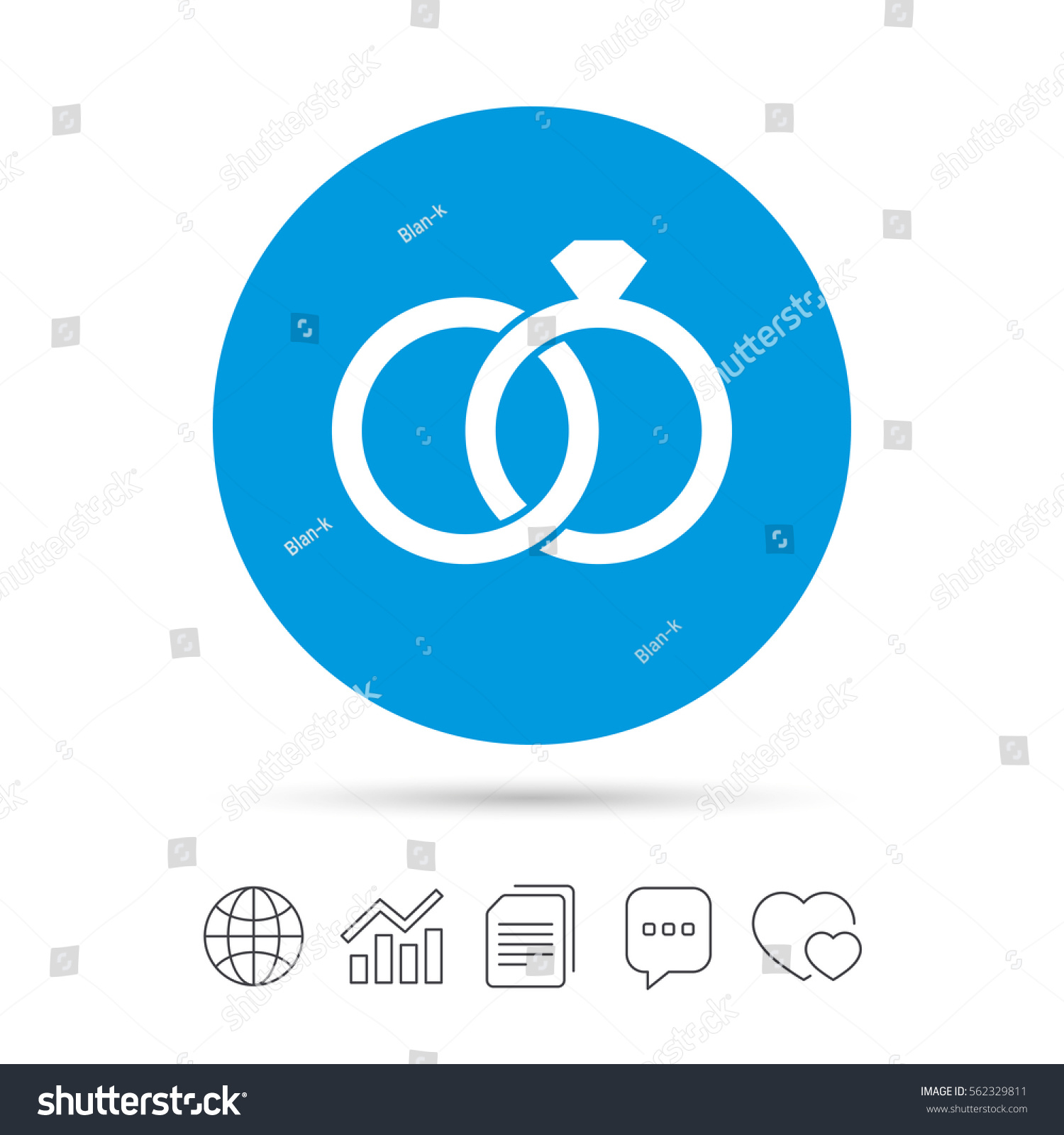 Wedding Rings Sign Icon Engagement Symbol Stock Vector 562329811