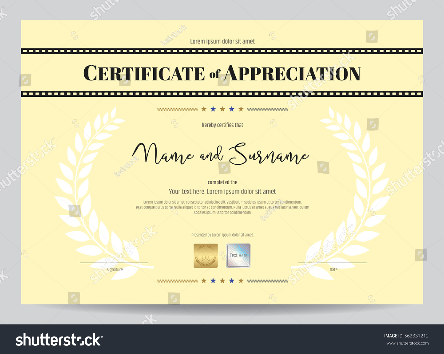 Certificate appreciation template movie film stripe stock vector certificate of appreciation template with movie film stripe header and award laurel crest yadclub Image collections