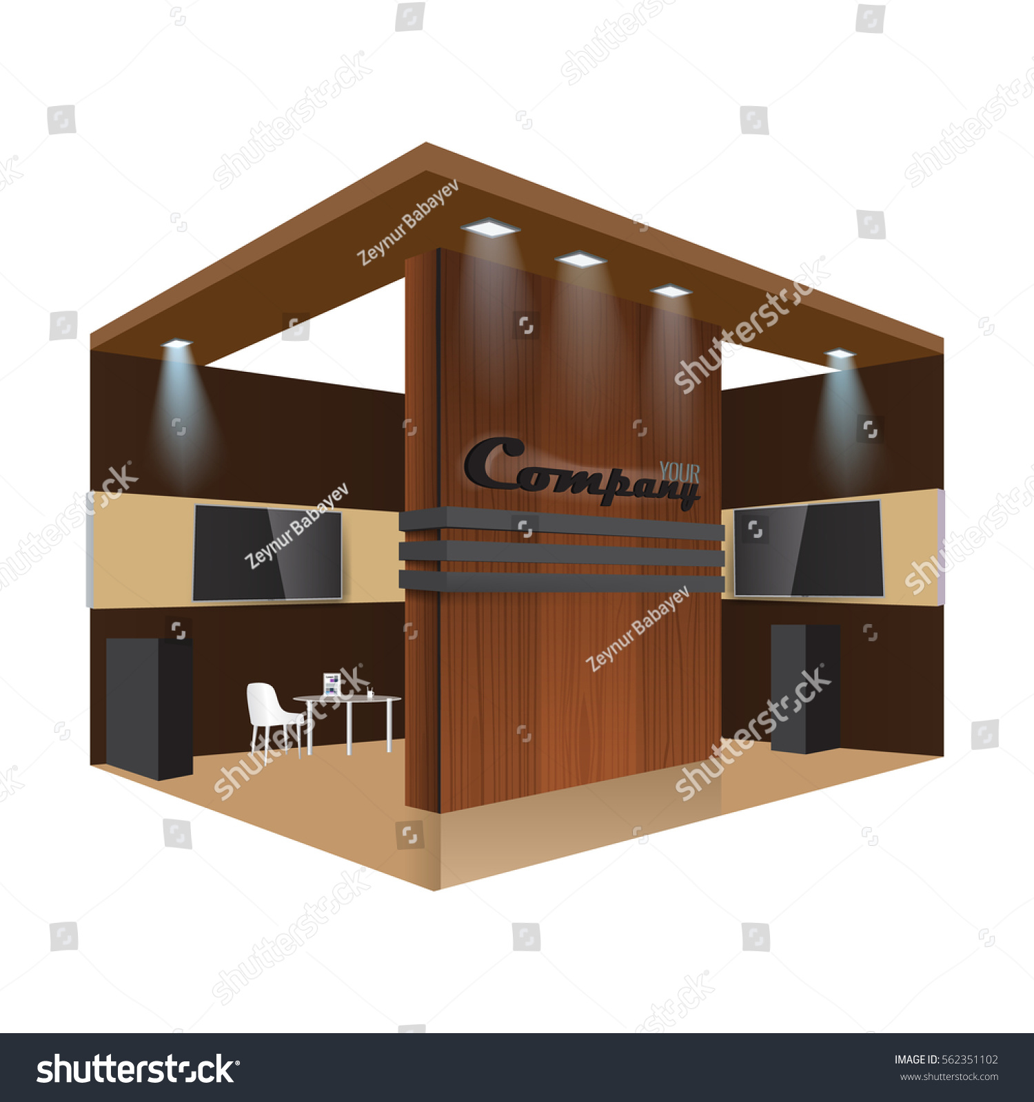 Exhibition Stand Design Vector : Illustrated unique creative wooden exhibition stand stock