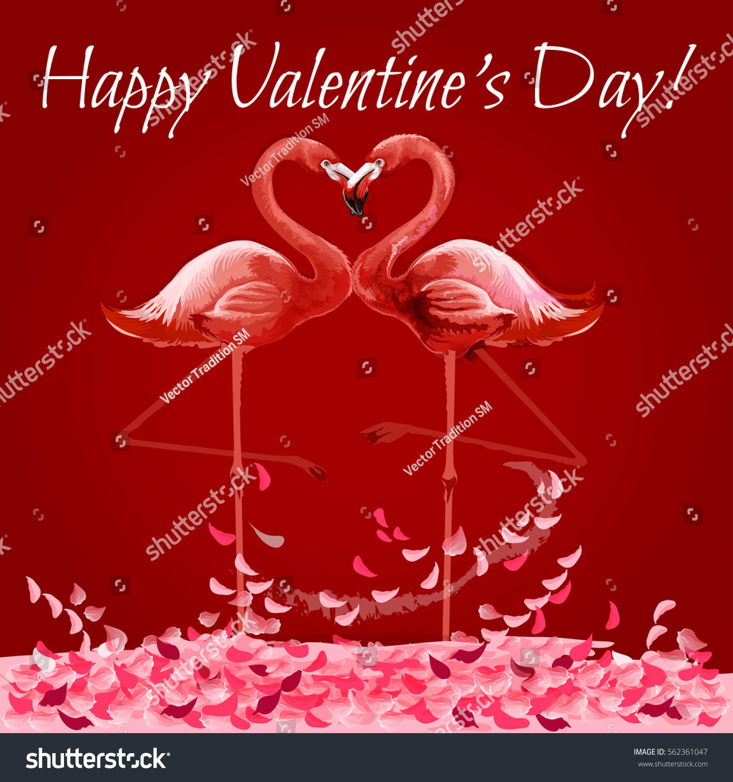 Valentine Day Greeting Card Flamingo Love Stock Vector Royalty Free
