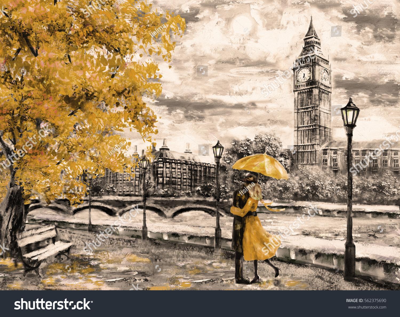 Oil Painting On Canvas Street London Stock Illustration