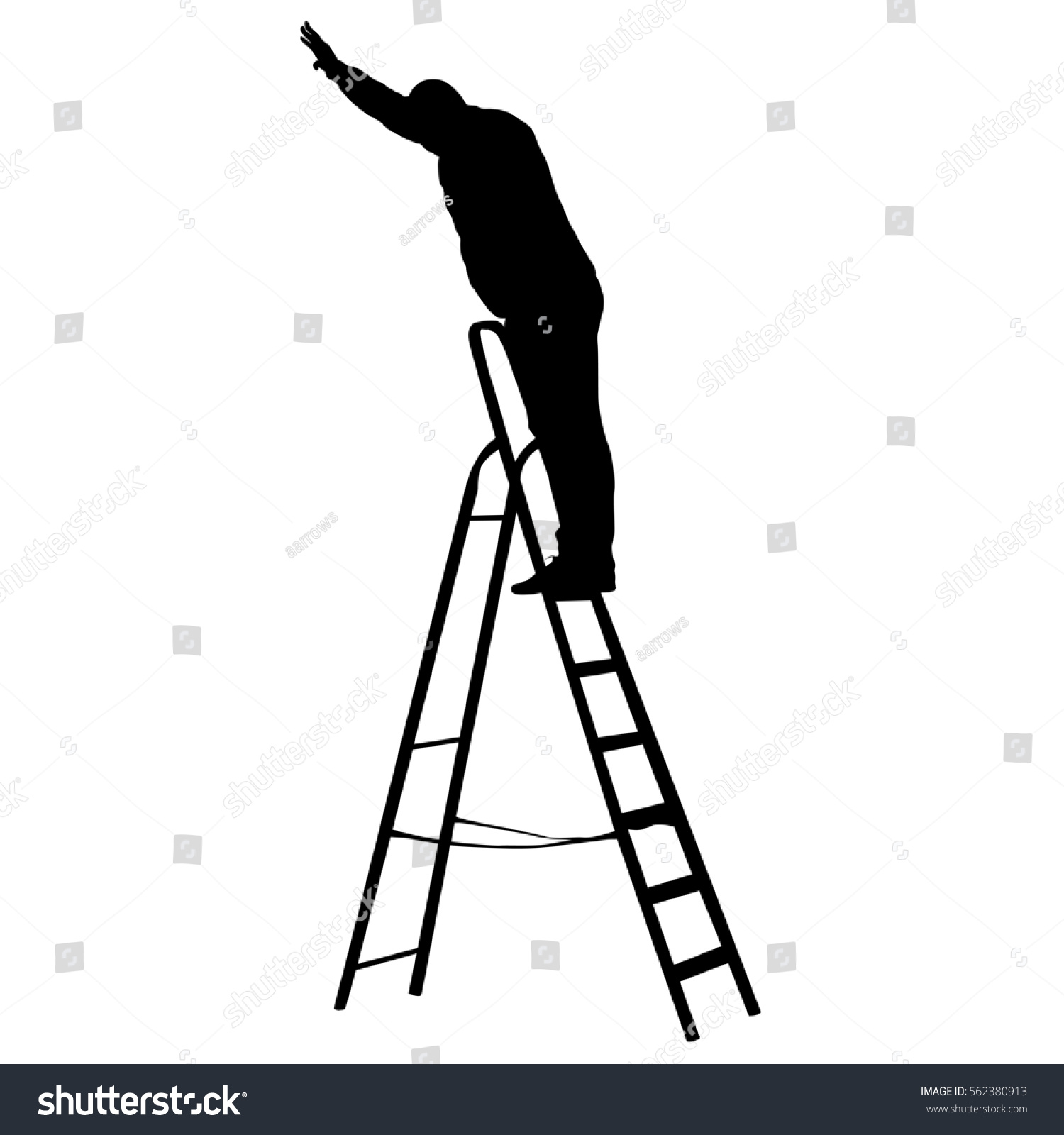 Silhouette Worker Climbing Ladder Illustration Stock Illustration ... for Worker Climbing Ladder  181pct