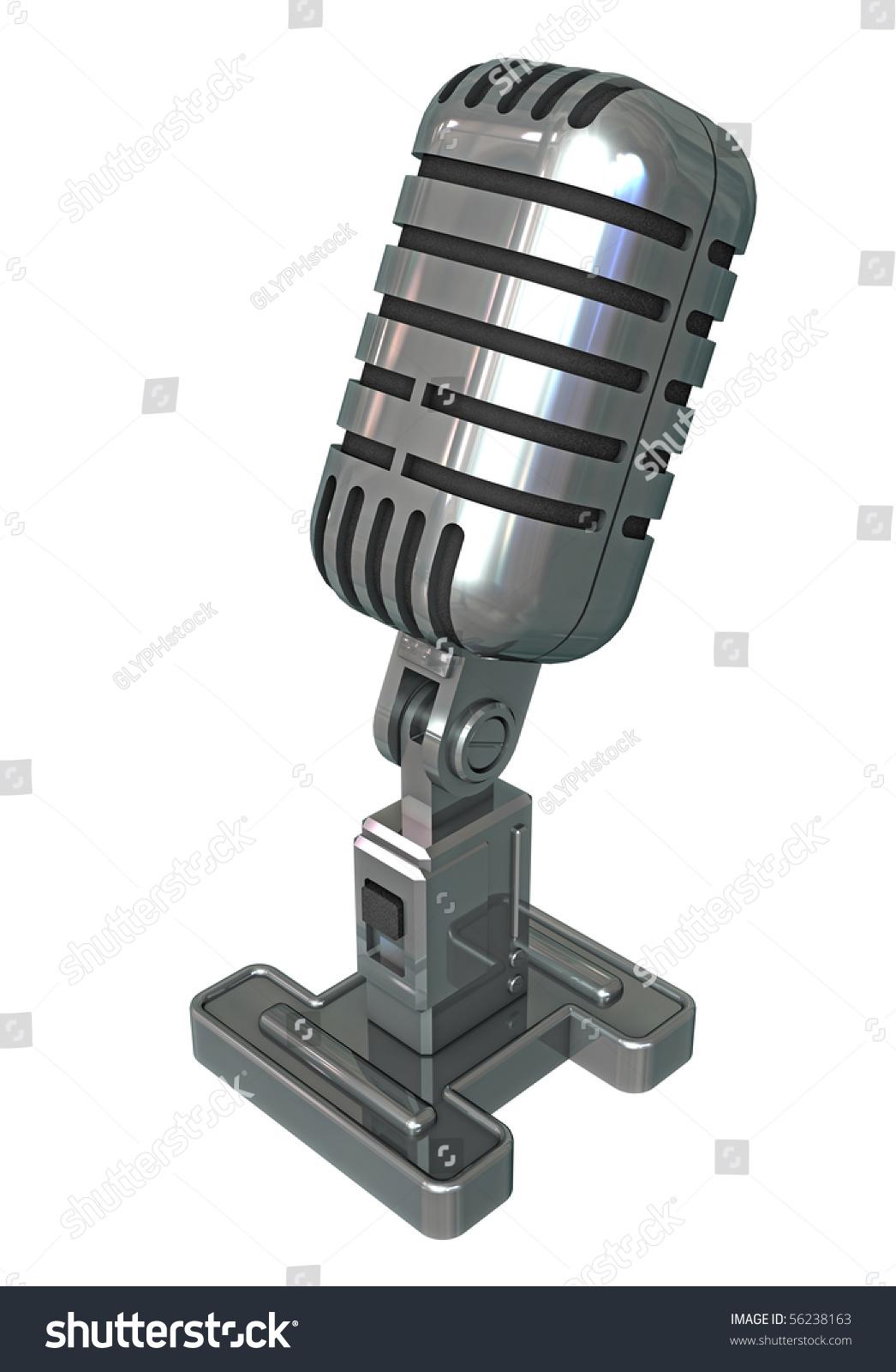 3d Render Vintage Radio Microphone Stock Illustration