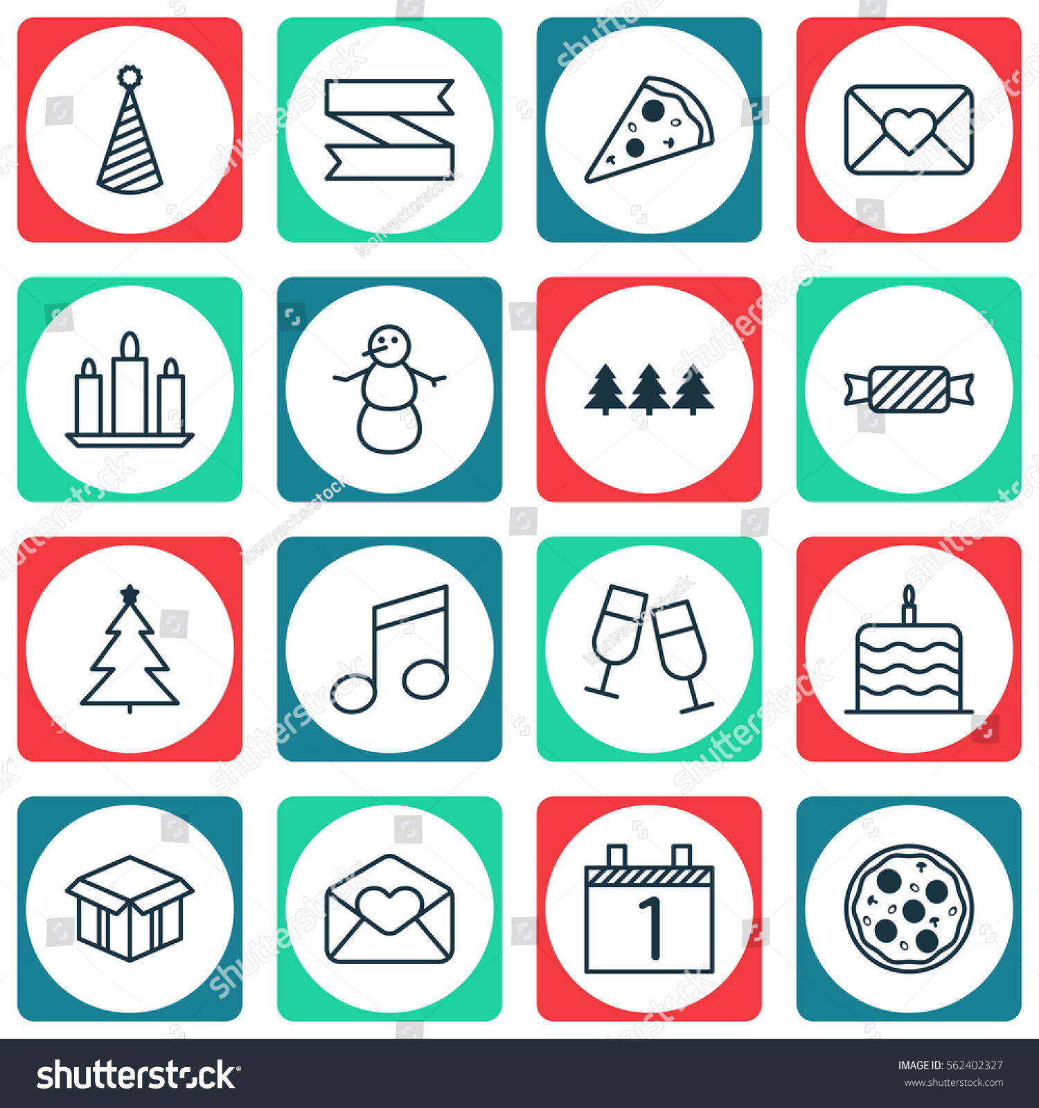 Set 16 New Year Icons Includes Stock Illustration Royalty Free