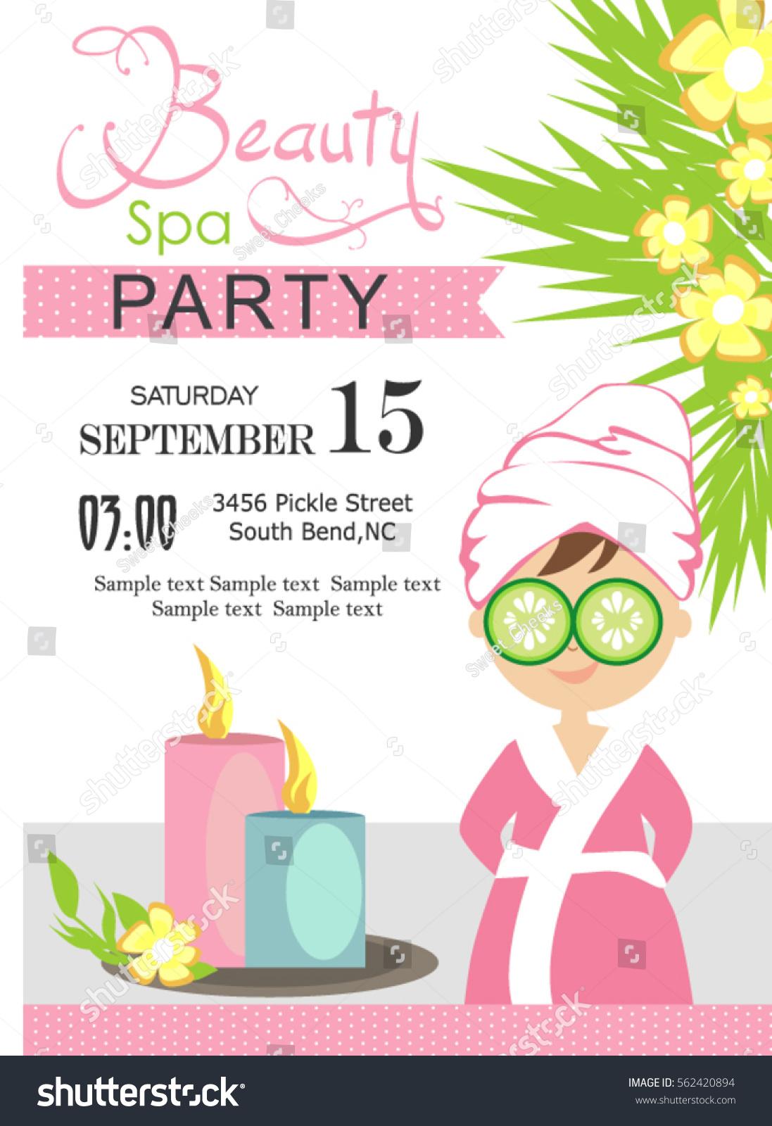 Spa Party Invitation Card Stock Vector 562420894 - Shutterstock