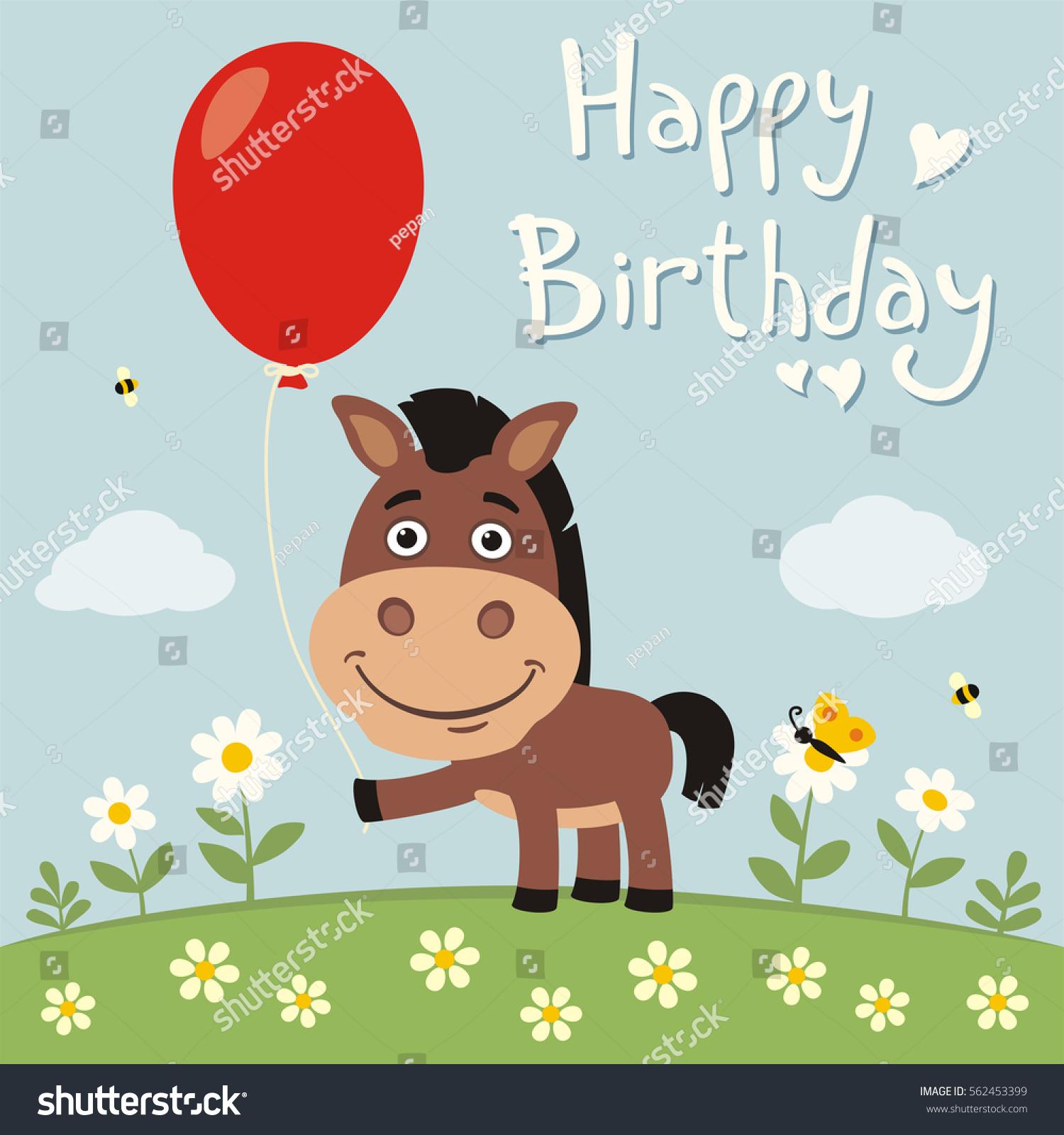Happy Birthday Funny Horse Red Balloon Stock Vector Royalty Free 562453399