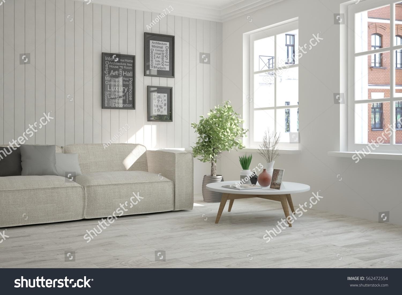 White room sofa urban landscape window stock illustration for Urban danish design