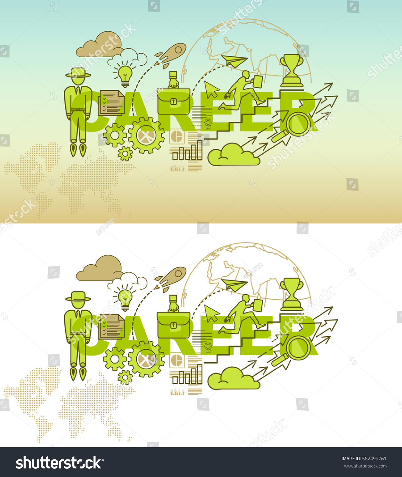 Career Website Banner Concept Thin Line Stock Vector Royalty Free 562499761