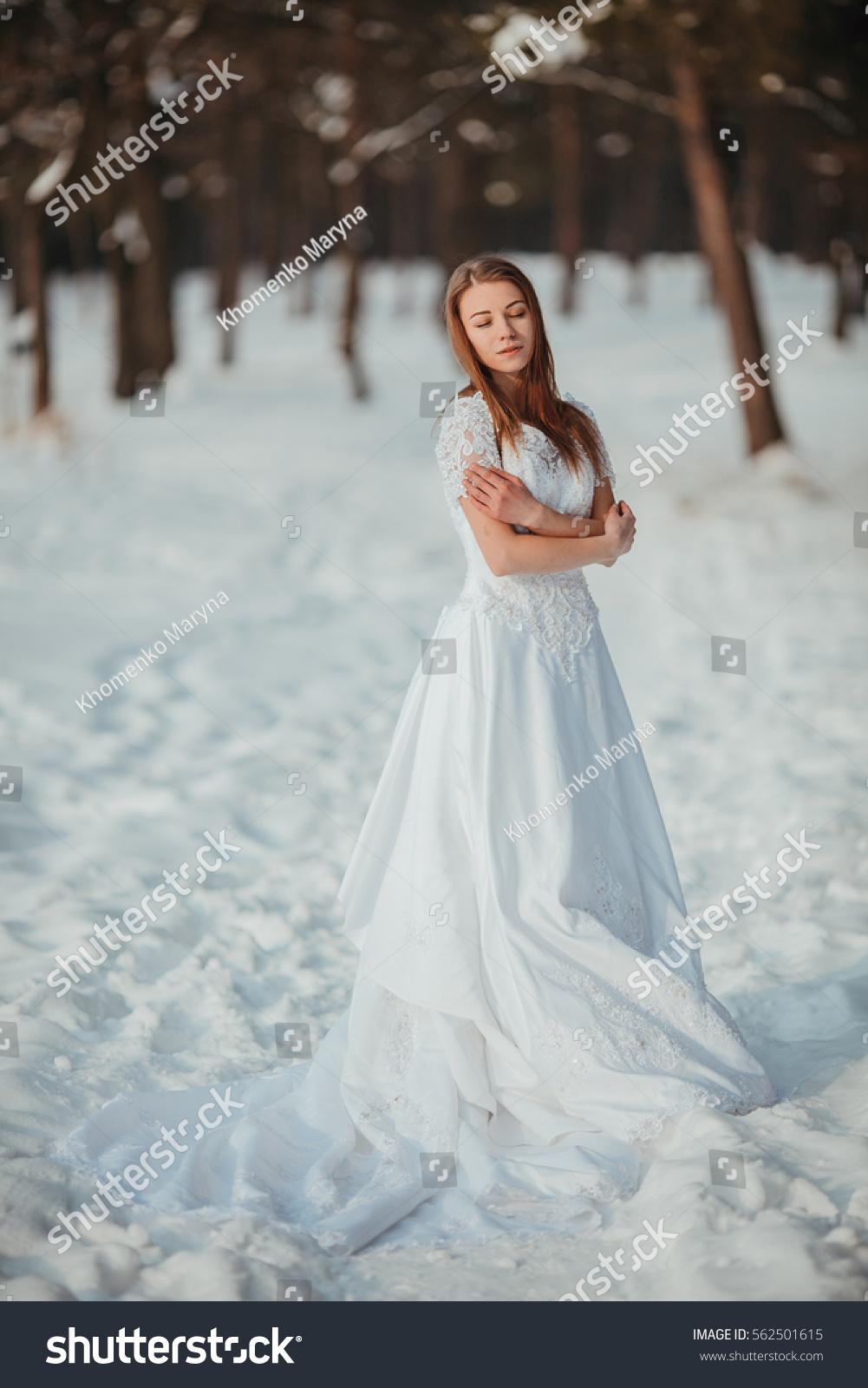 Gorgeous Girl Vintage White Wedding Dress Stock Photo (Safe to Use ...