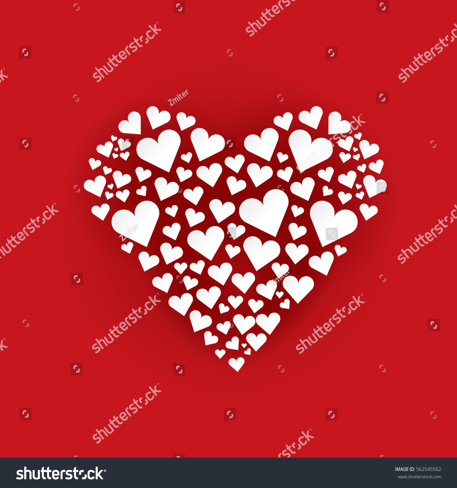 Vector Valentines Day Vector Background With Heart Square Red
