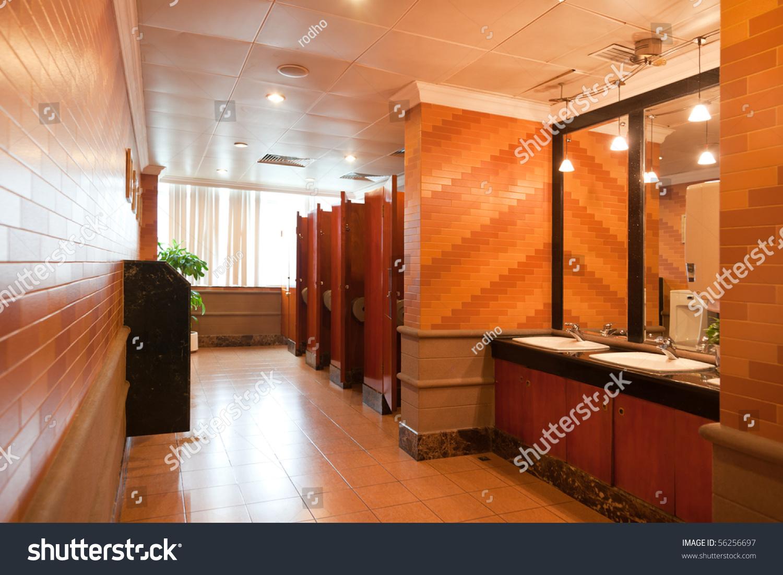 Interior Luxury Public Restroom Modern Building Stock