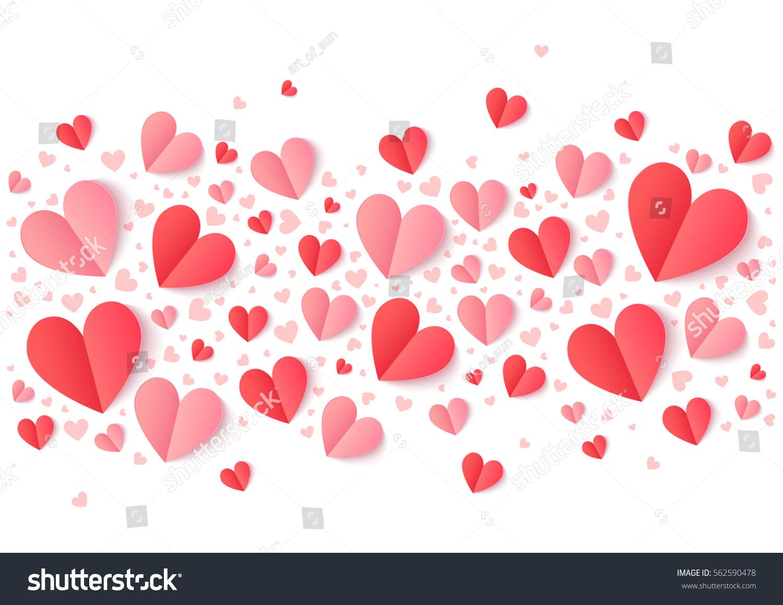 Valentines Day Pink Red Paper Hearts Stock-Vektorgrafik (Lizenzfrei ...