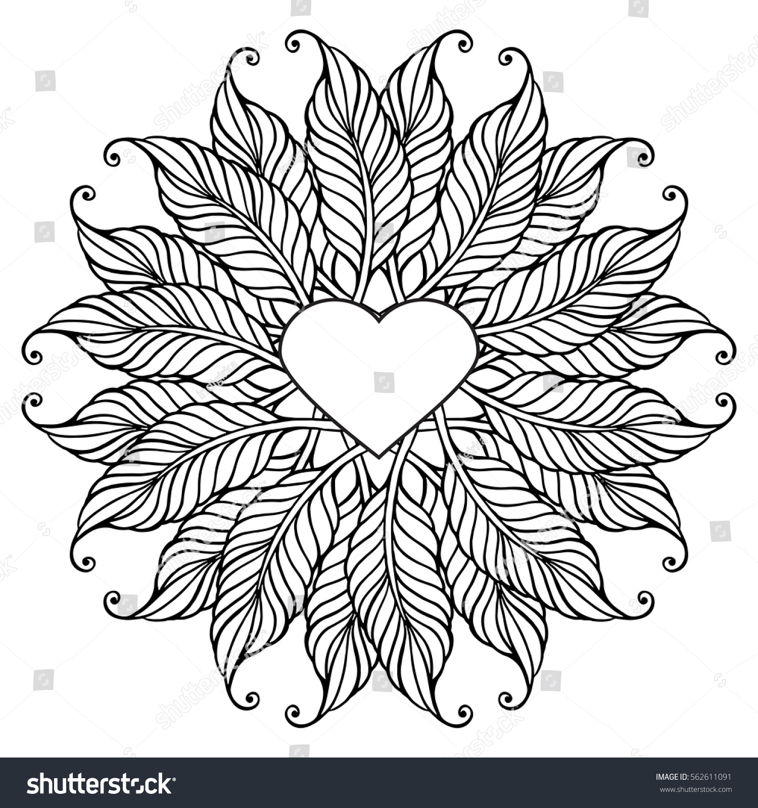 Coloring Page Adult Older Children Bohemian Stock Vector (Royalty ...