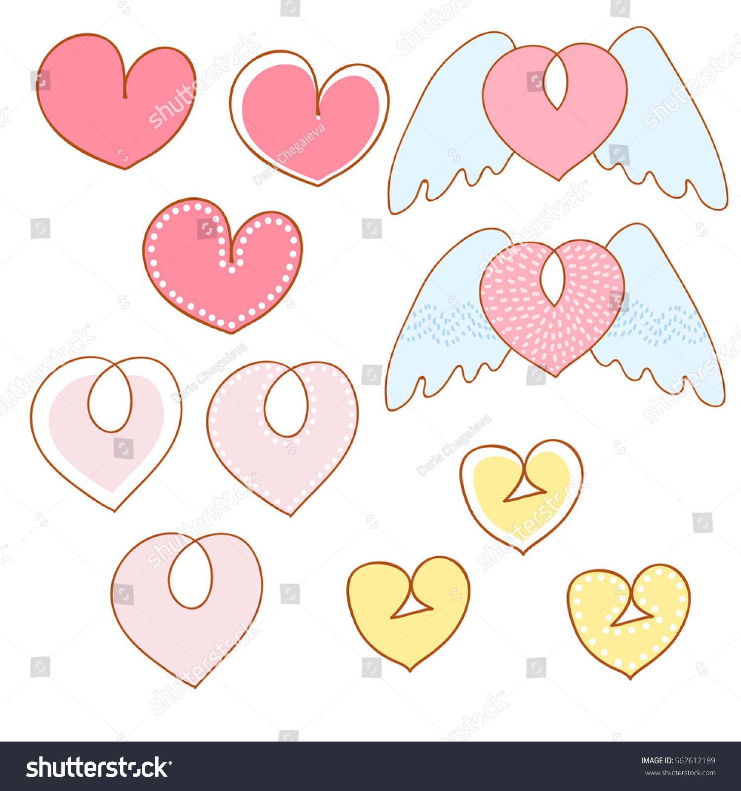 Cute cartoon hand drawn heart vector stock vector 562612189 cute cartoon hand drawn heart vector illustration set of heart shape love icon buycottarizona Images