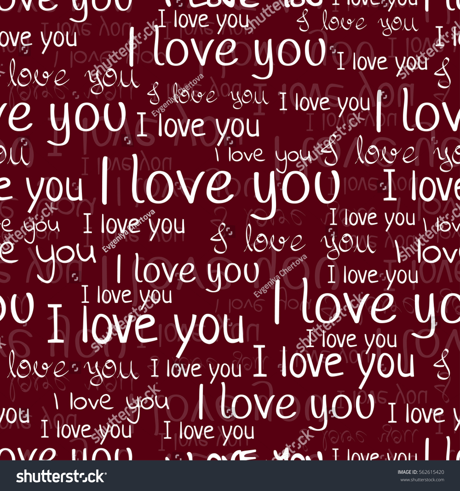 Love You Font Seamless Pattern Valentines Stock Vector