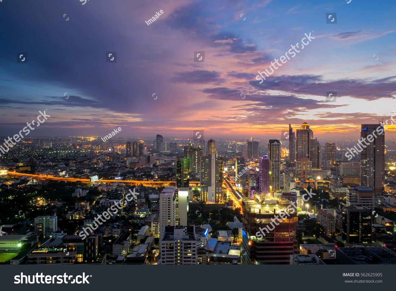 Bangkok Cityscape Top View Thailand Stock Photo 562625905