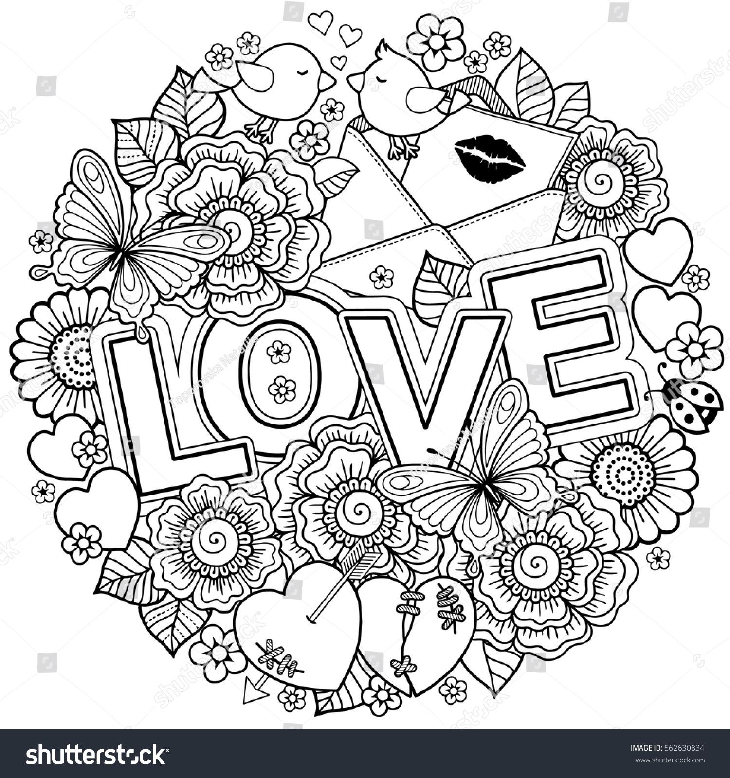 Vector Coloring Book Adult Design Wedding Stock 562630834