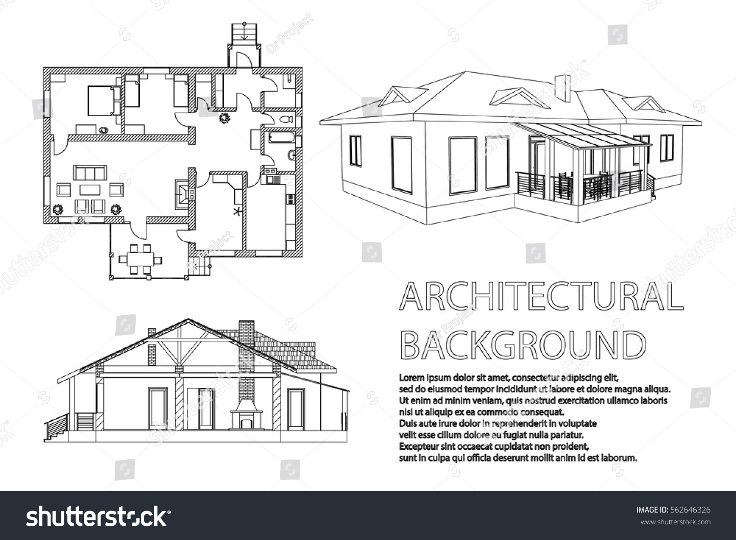 Perspective 3 D Floor Plan Cross Section Stock Vector (Royalty Free on mansion floor plans, drawing home layout, drawing home design, drawing home interiors, drawing of your house, drawing home blueprints, house floor plans, the word floor plans, draw room floor plans, simple floor plans, design for drawings plans, drawing building plans,