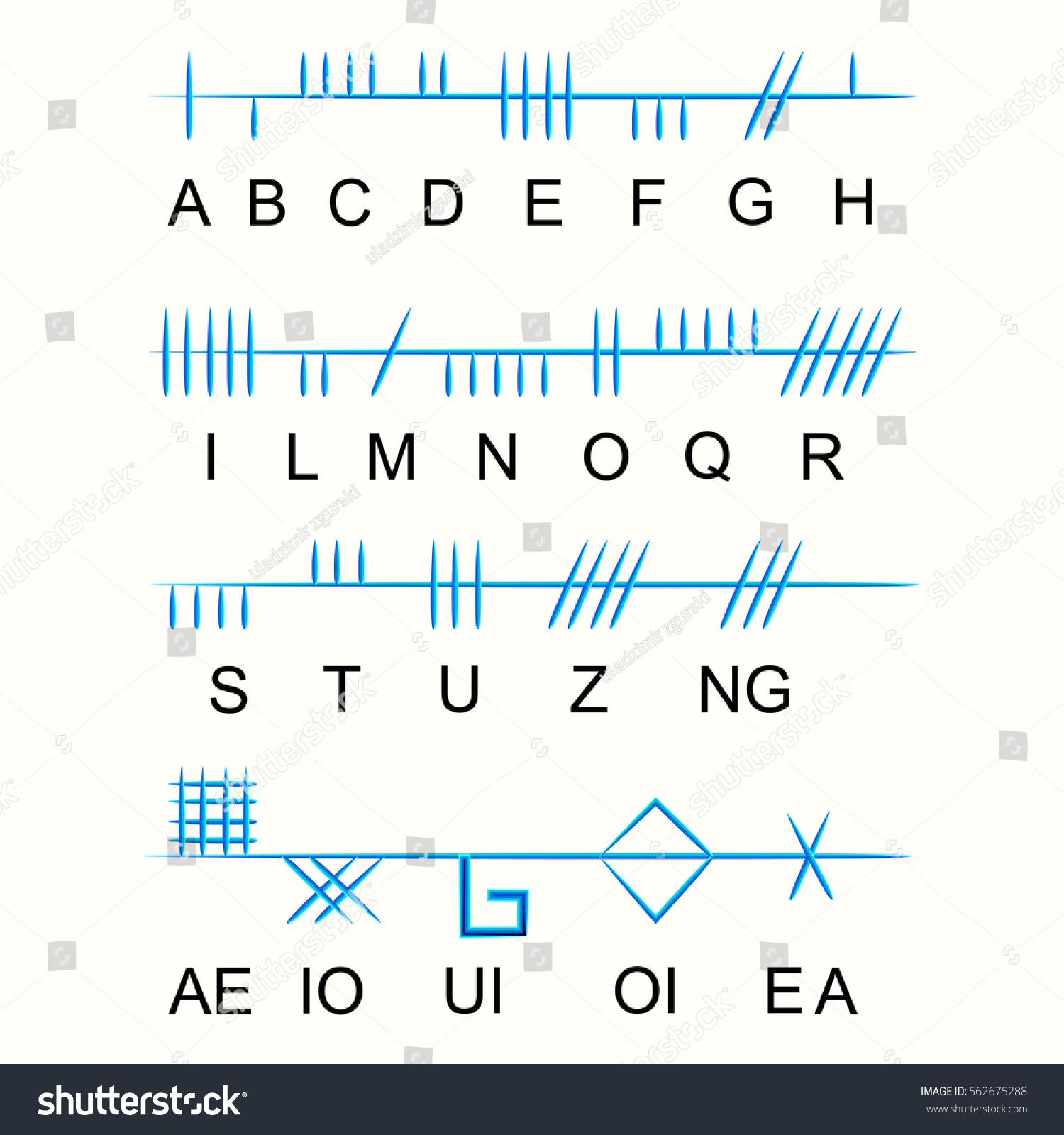 Set Old Sacred Celtic Ogham Alphabet Stock Vector Royalty Free