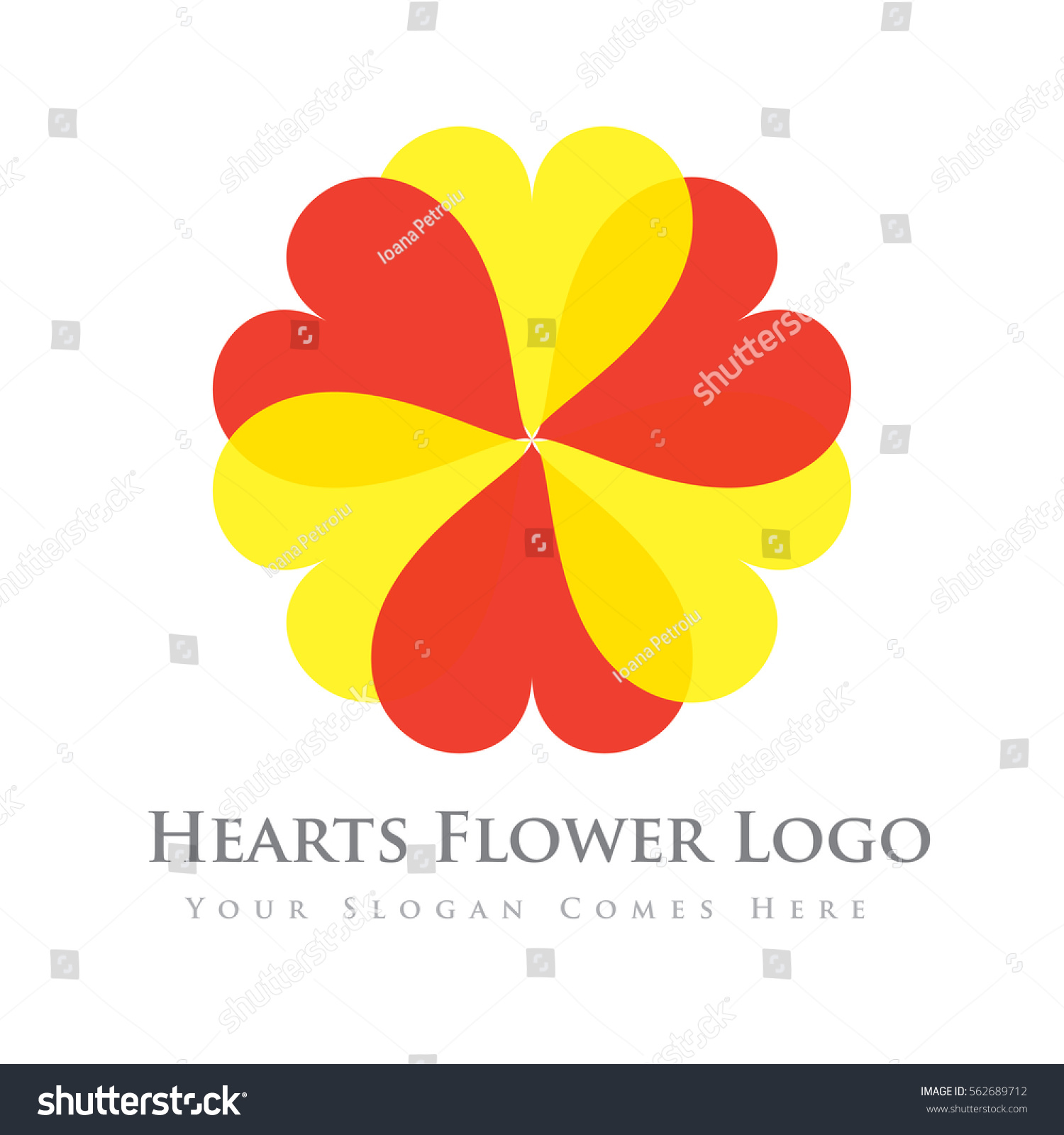 Red Yellow Hearts Flower Logo Design Stock Vector Royalty Free
