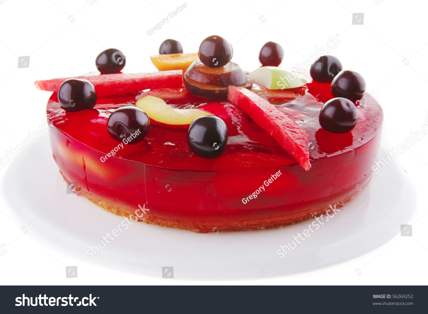 Red Jelly Cake Recipe: Cold Red Jelly Cake With Cherry And Watermelon Stock Photo