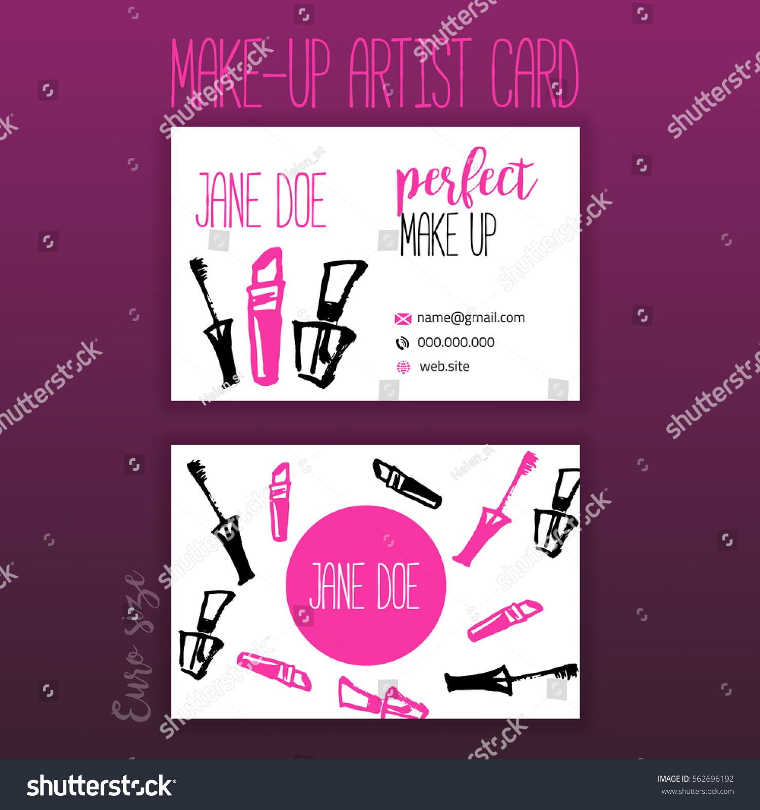 Makeup Business Card Makeup Items Brush Stock Vector 562696192 ...