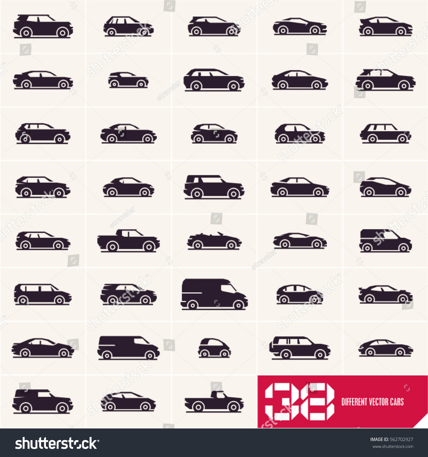cars icons set different vector car types silhouettes