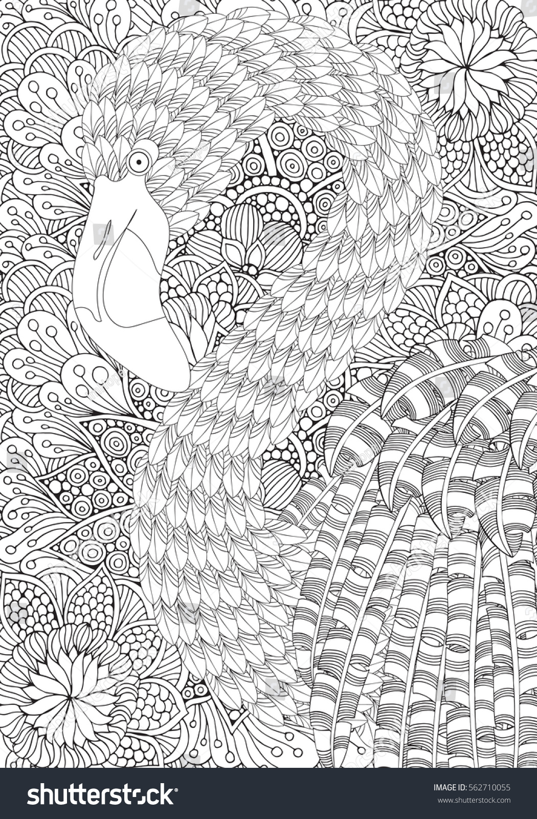 Fantastical Bird Coloring Book A4 Size Amazing Flamingo With Feathers And Patterns Plumage