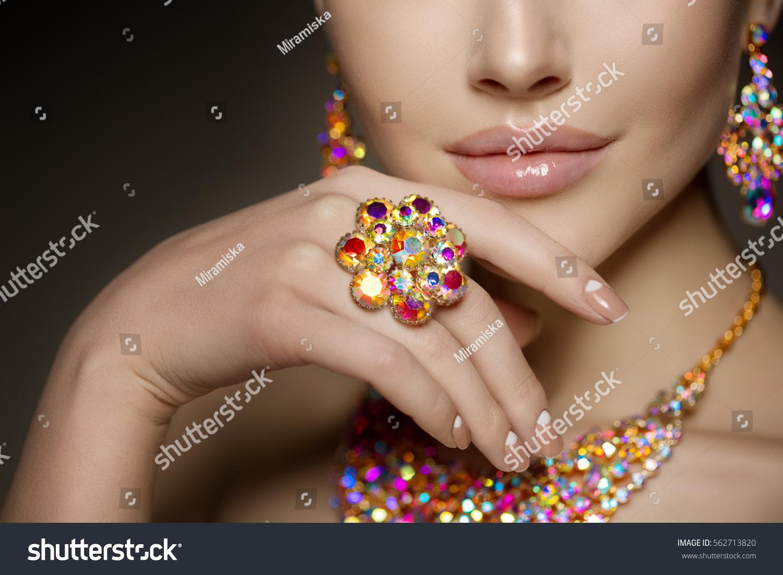 Diamond Ring On Hand Beautiful Woman Stock Photo 562713820 ...