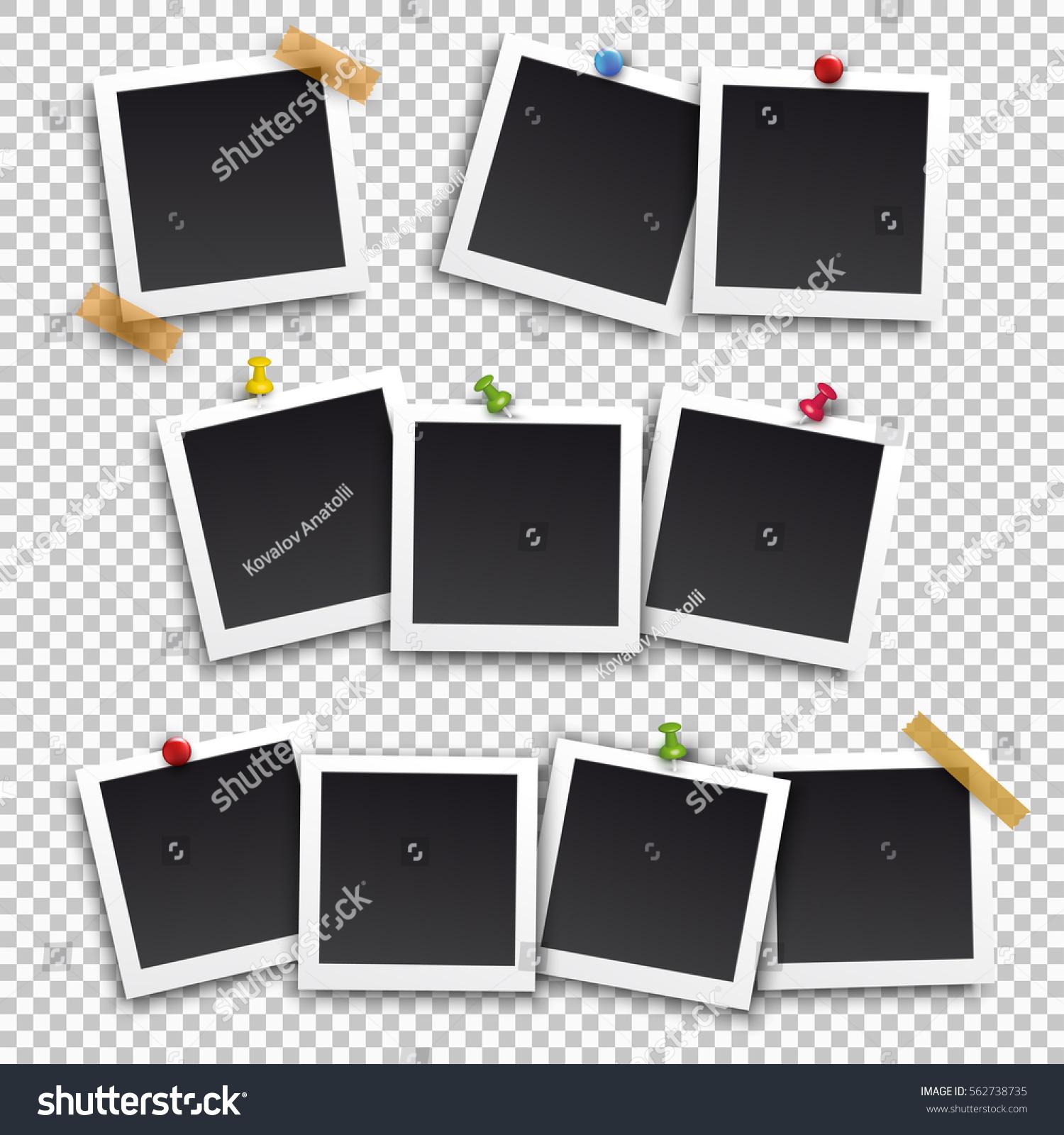 Set Square Frame Template Shadows Buttons Stockvector Rechtenvrij