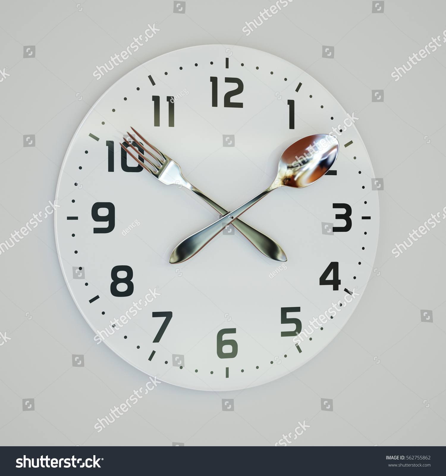 3d rendering illustration fork spoon clock stock illustration 3d rendering illustration of fork and spoon clock on the wall amipublicfo Gallery