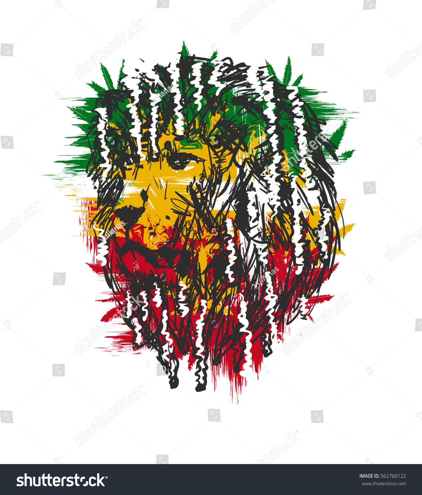 Vector Illustration Depicting Lion Dreadlocks Symbol Stock Vector