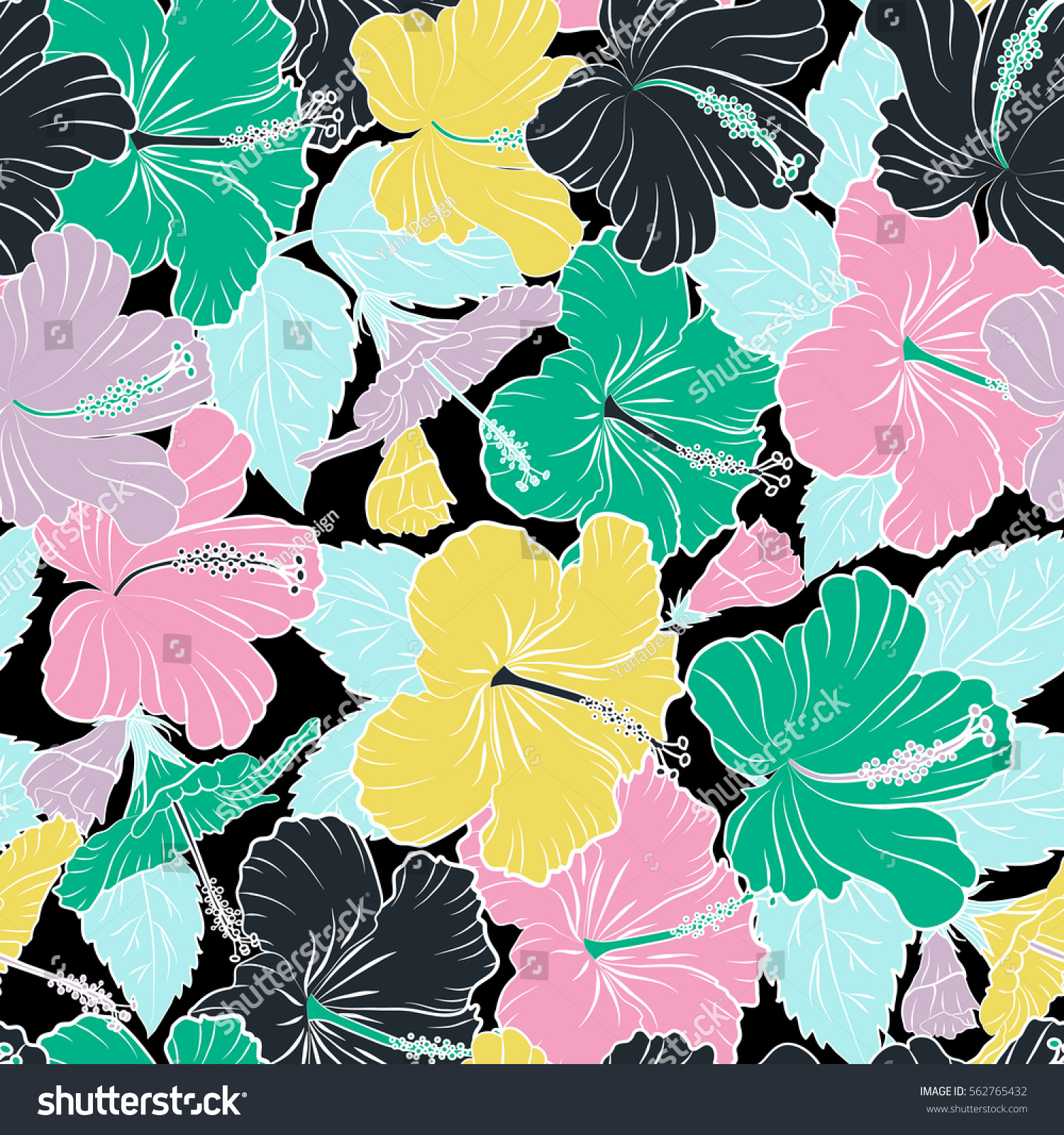 Vector Hibiscus Flower Seamless Pattern In Beige Violet And Green