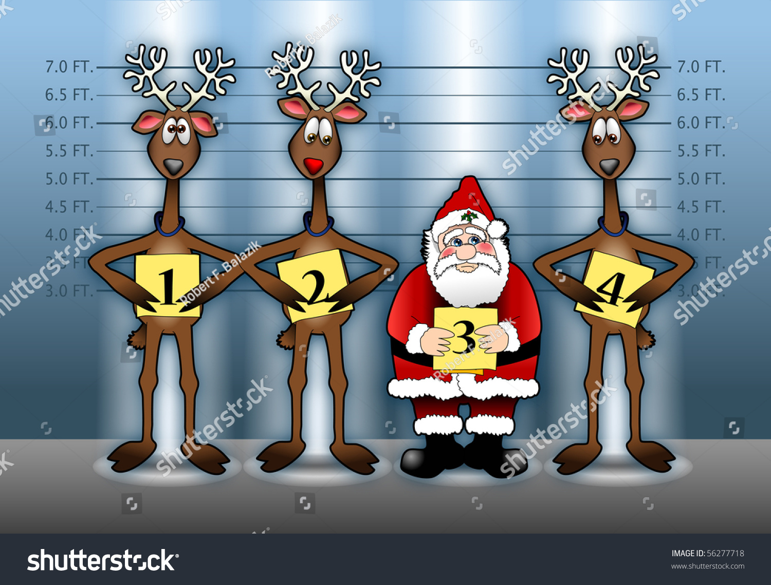 Cartoon Illustration Depicting Santa Claus His Stock