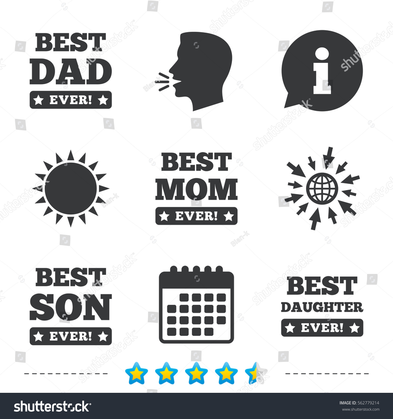 Best mom dad son daughter icons stock vector 562779214 shutterstock best mom and dad son and daughter icons awards with exclamation mark symbols biocorpaavc