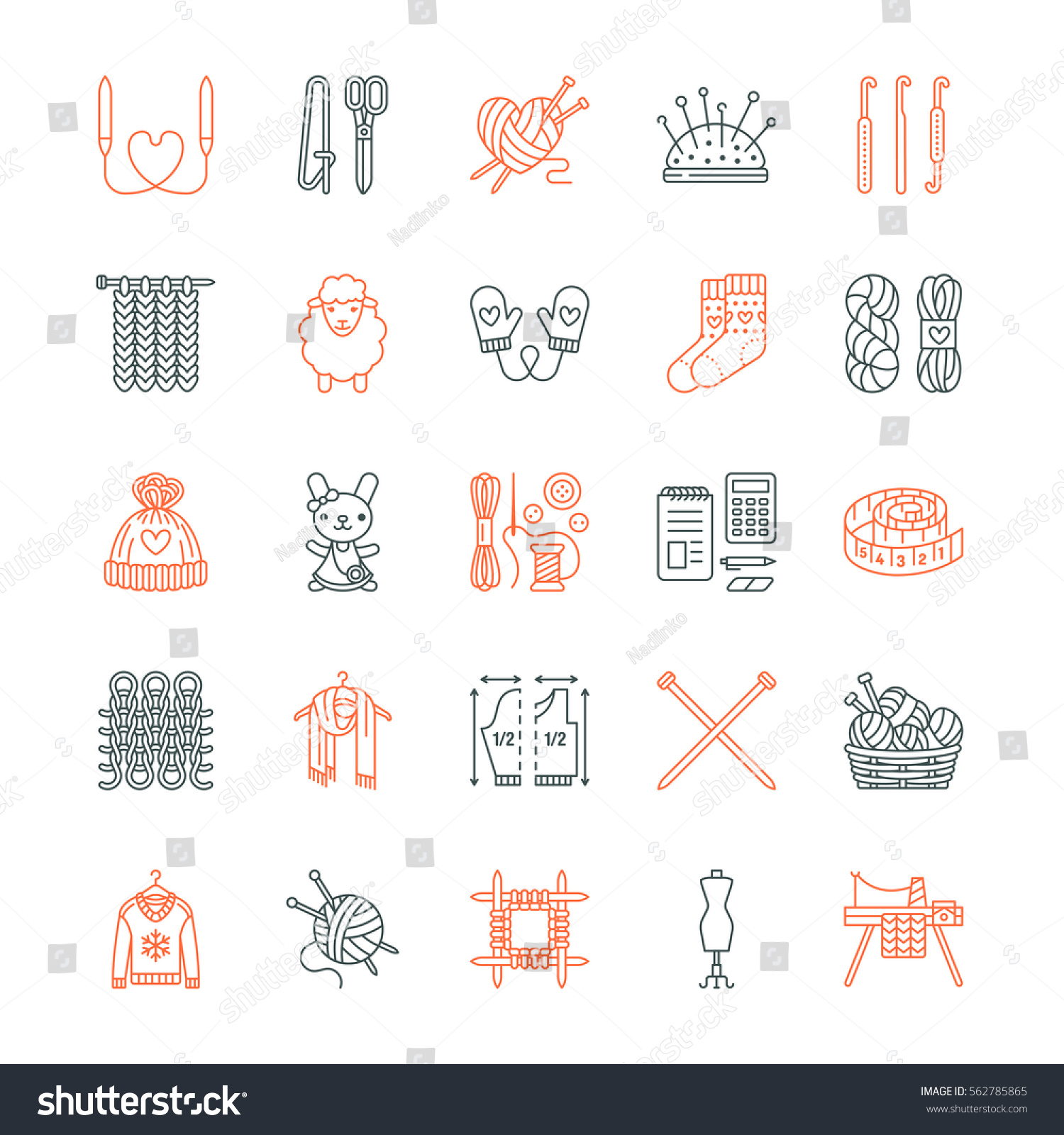 Knitting Crochet Hand Made Line Icons Vector de stock562785865 ...