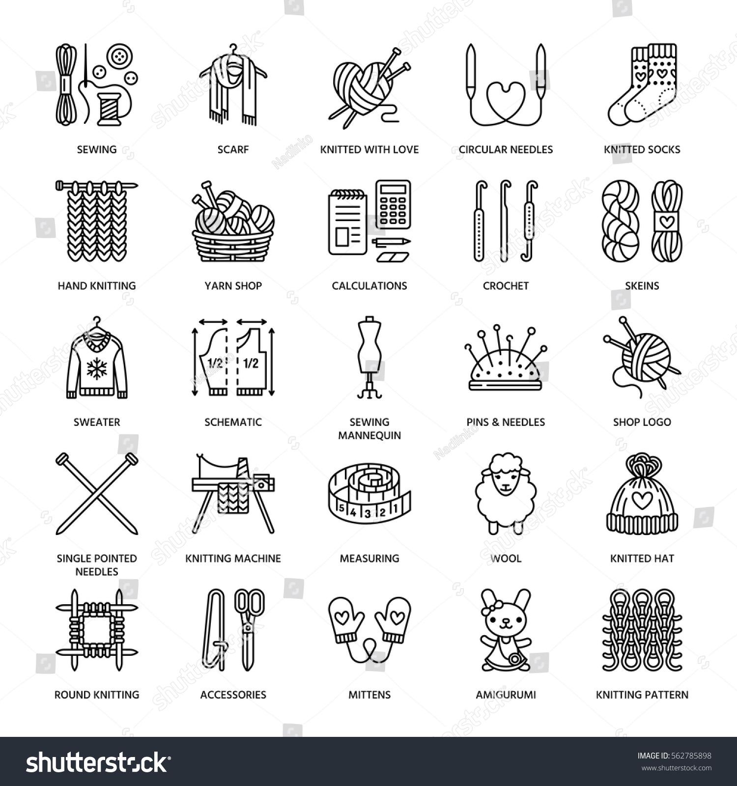 Knitting Crochet Hand Made Line Icons Vector de stock (libre de ...
