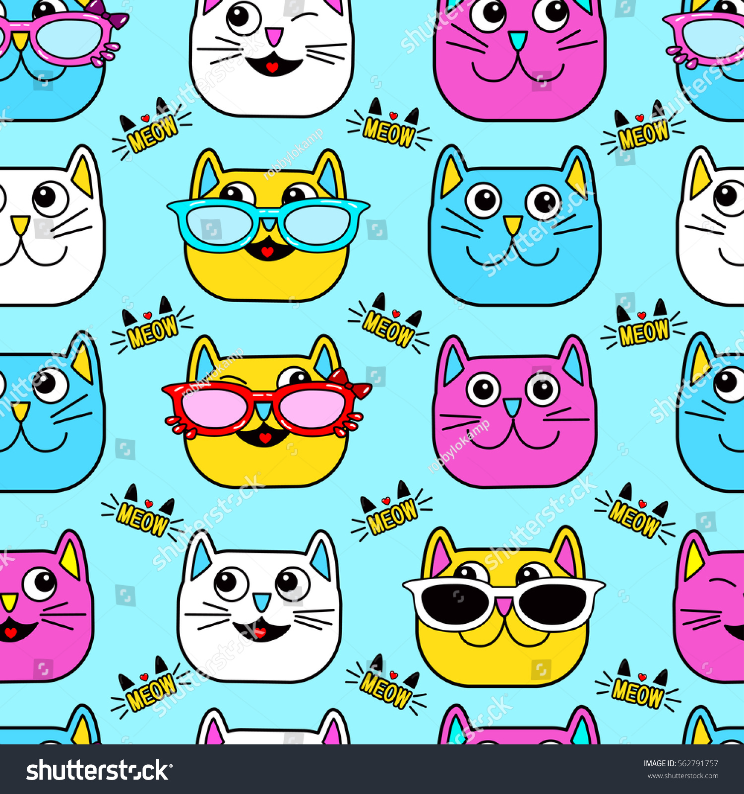 Abstract Seamless Pattern For Girls Boys Clothes Creative Vector Background With Cat