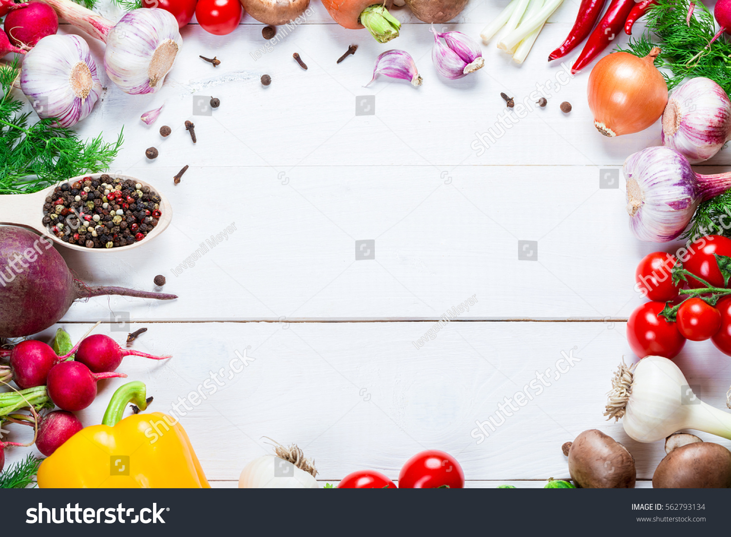 Beautiful Frame Different Vegetables Spices On Stock Photo (Royalty ...