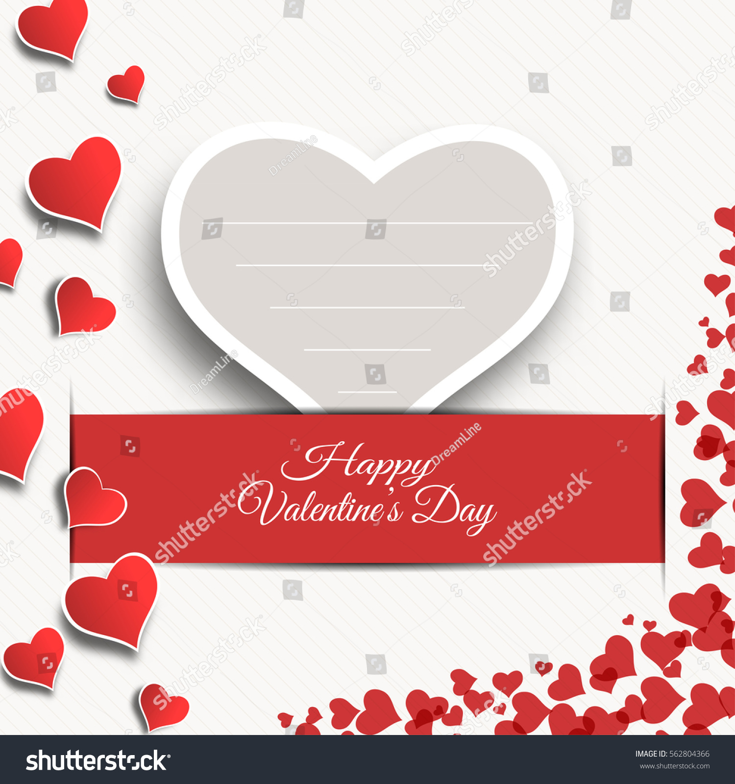 Vector happy valentines day blank greeting stock vector royalty vector happy valentines day blank greeting card with gray paper heart insert in the red slot m4hsunfo