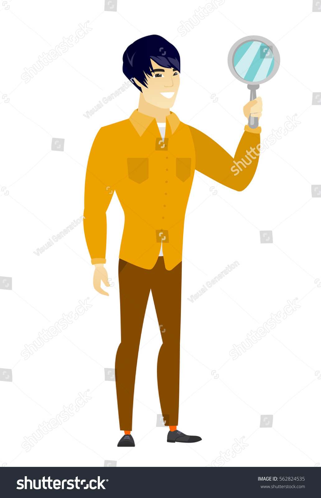 man holding a mirror. asian business man holding hand mirror. full length of looking at himself in a mirror