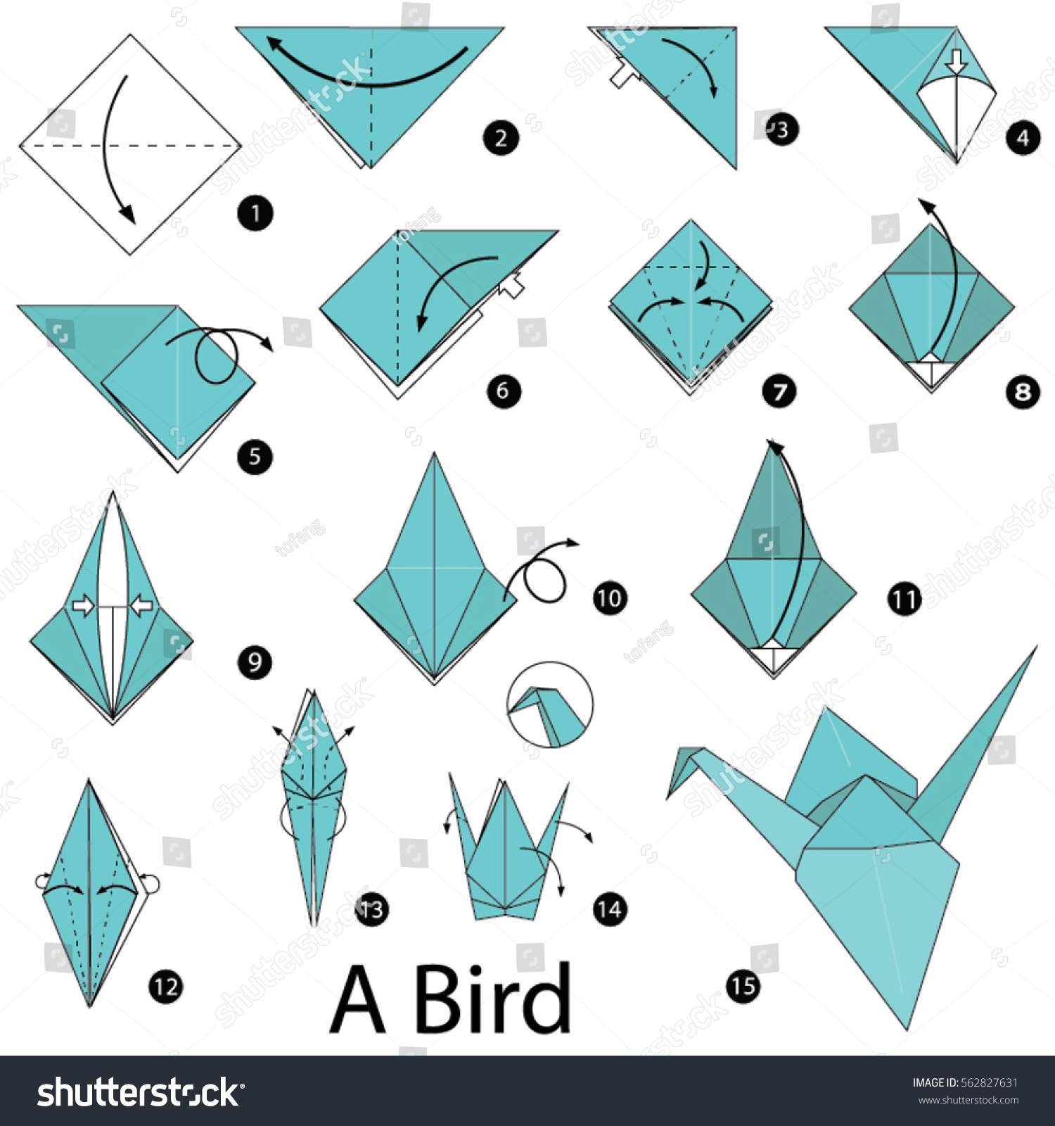 Step by step instructions how make stock vector 562827631 for How to make origami goose