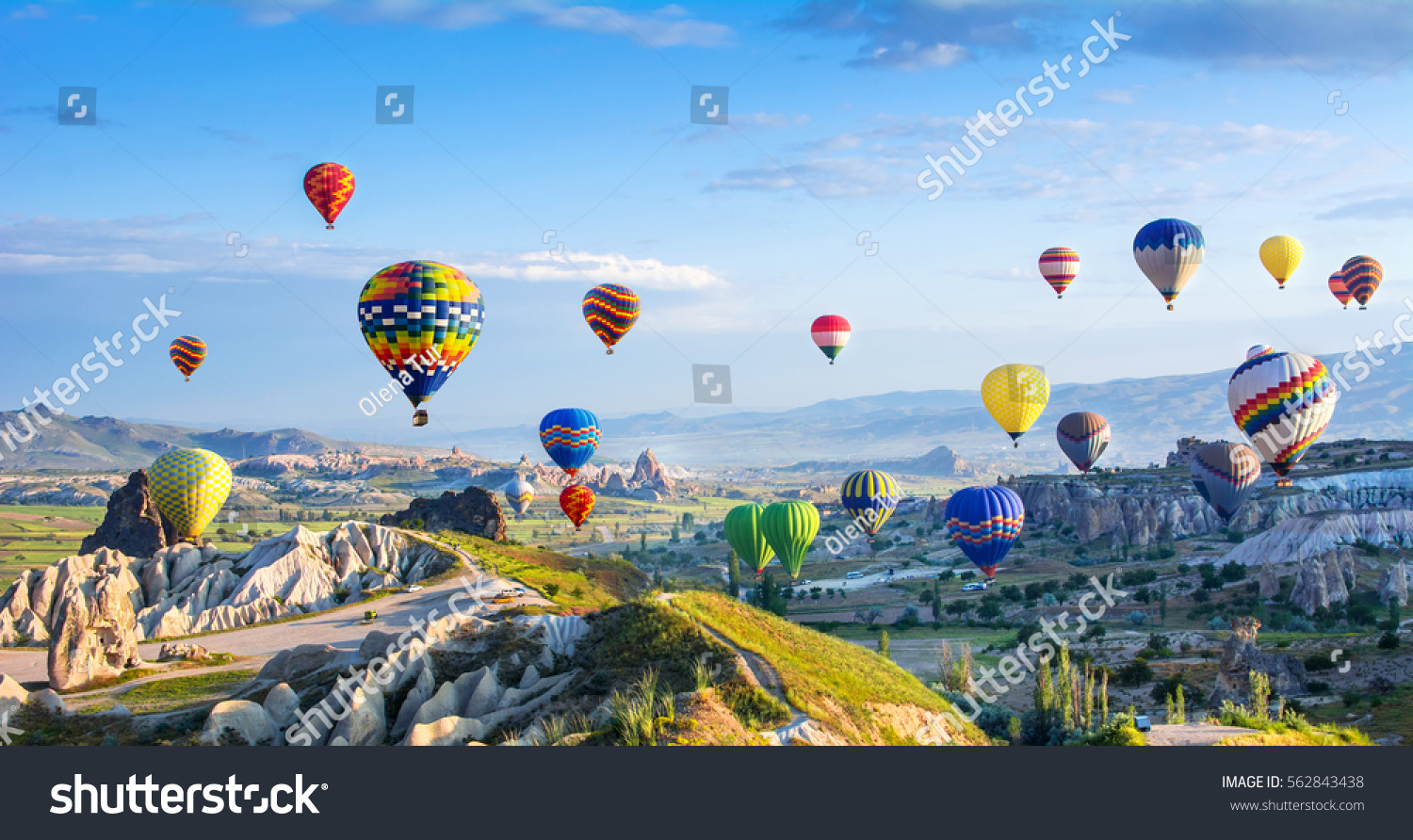 The great tourist attraction of Cappadocia - balloon flight. Cappadocia is known around the world as one of the best places to fly with hot air balloons. Goreme, Cappadocia, Turkey #562843438 - 123PhotoFree.com