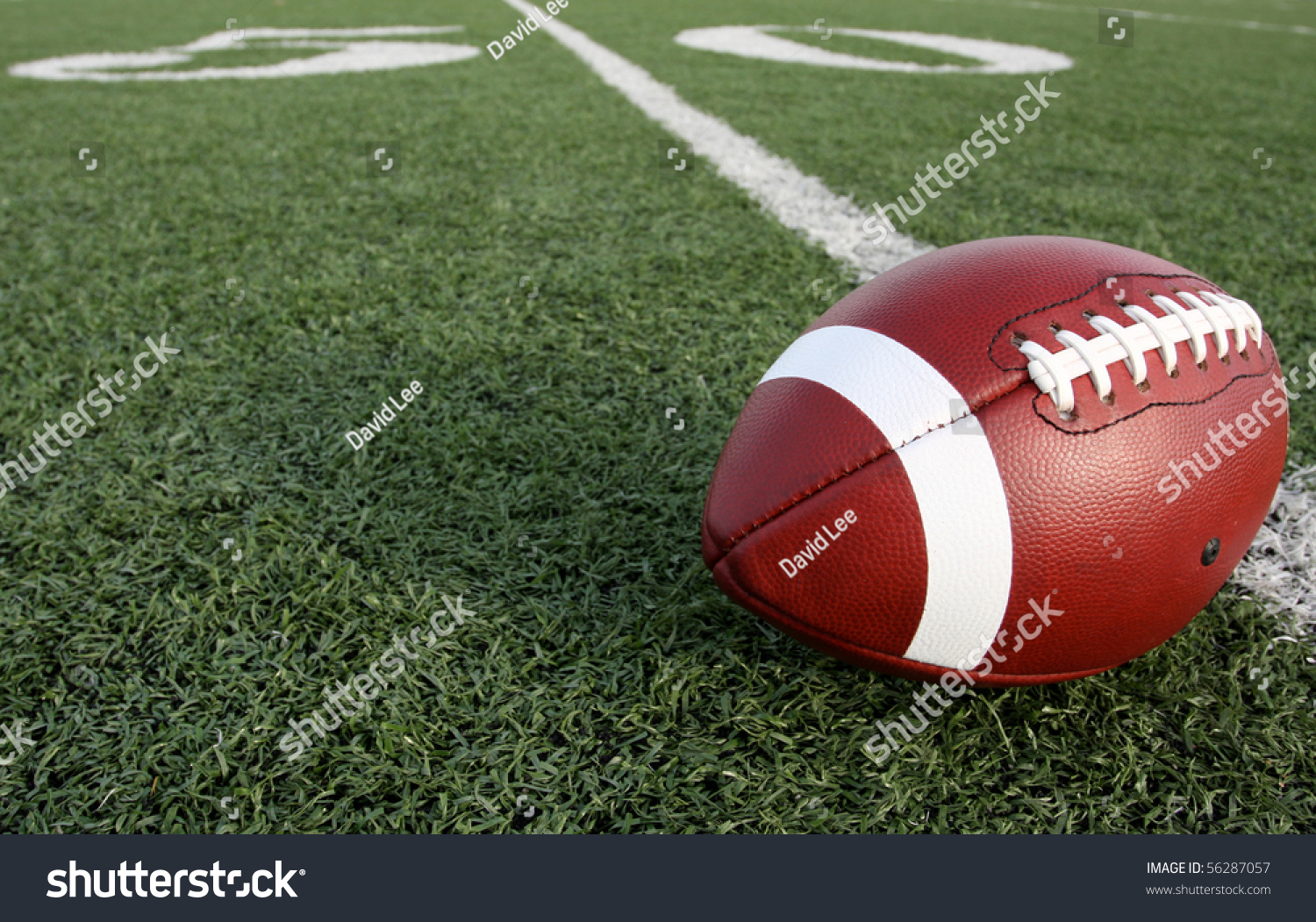 American Football With The Fifty Yard Line Beyond Stock ...