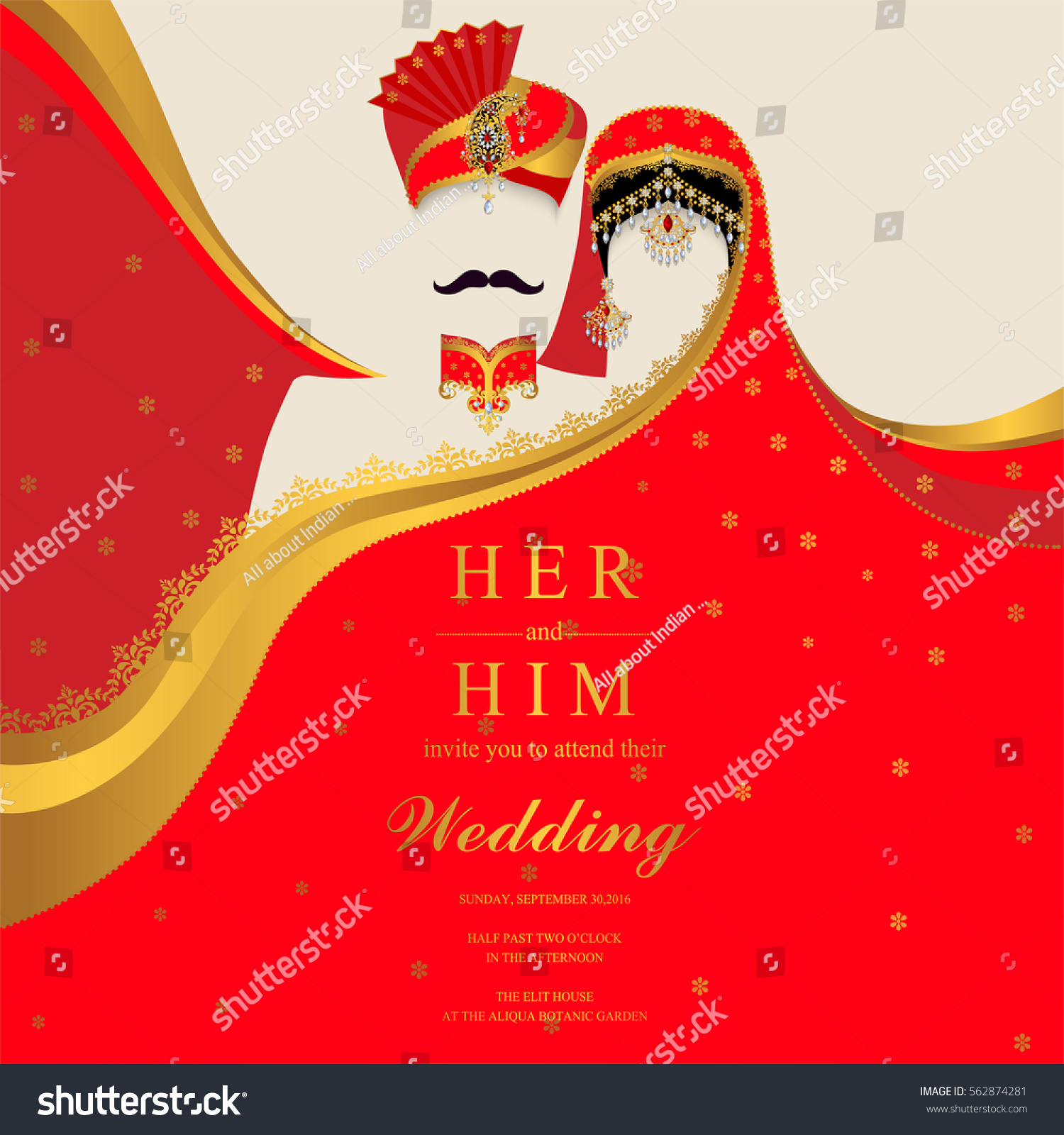 Indian Wedding Invitation Card Templates Patterned Stock Vector HD ...