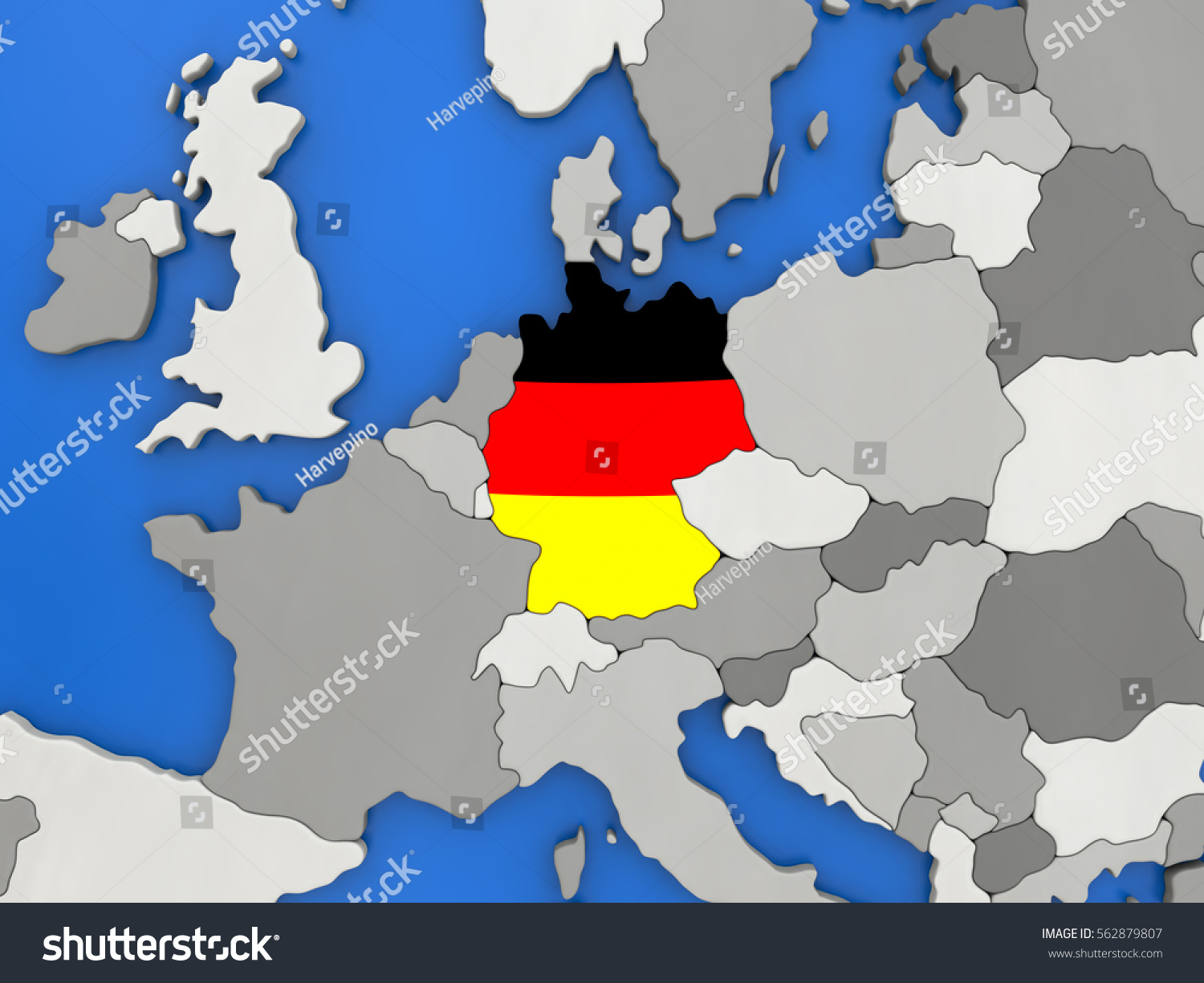 Map Germany Embedded National Flag On Stock Illustration - Germany map view